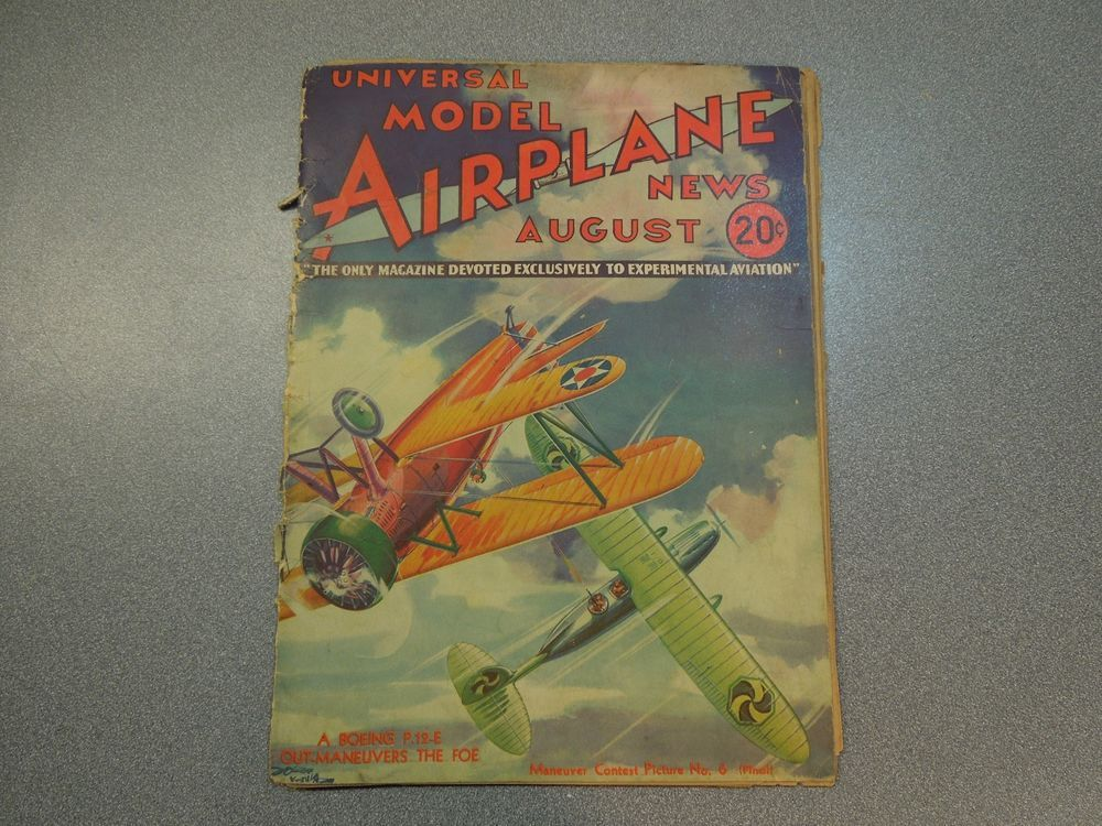 Vintage Universal Model Airplane News August 1933 Experimental - printable fake airline tickets