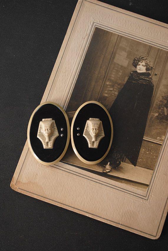 Vintage 1920s Celluloid Egyptian Revival Belt Buckle. #vintage #1920s #Egyptian_revival #belt_buckle