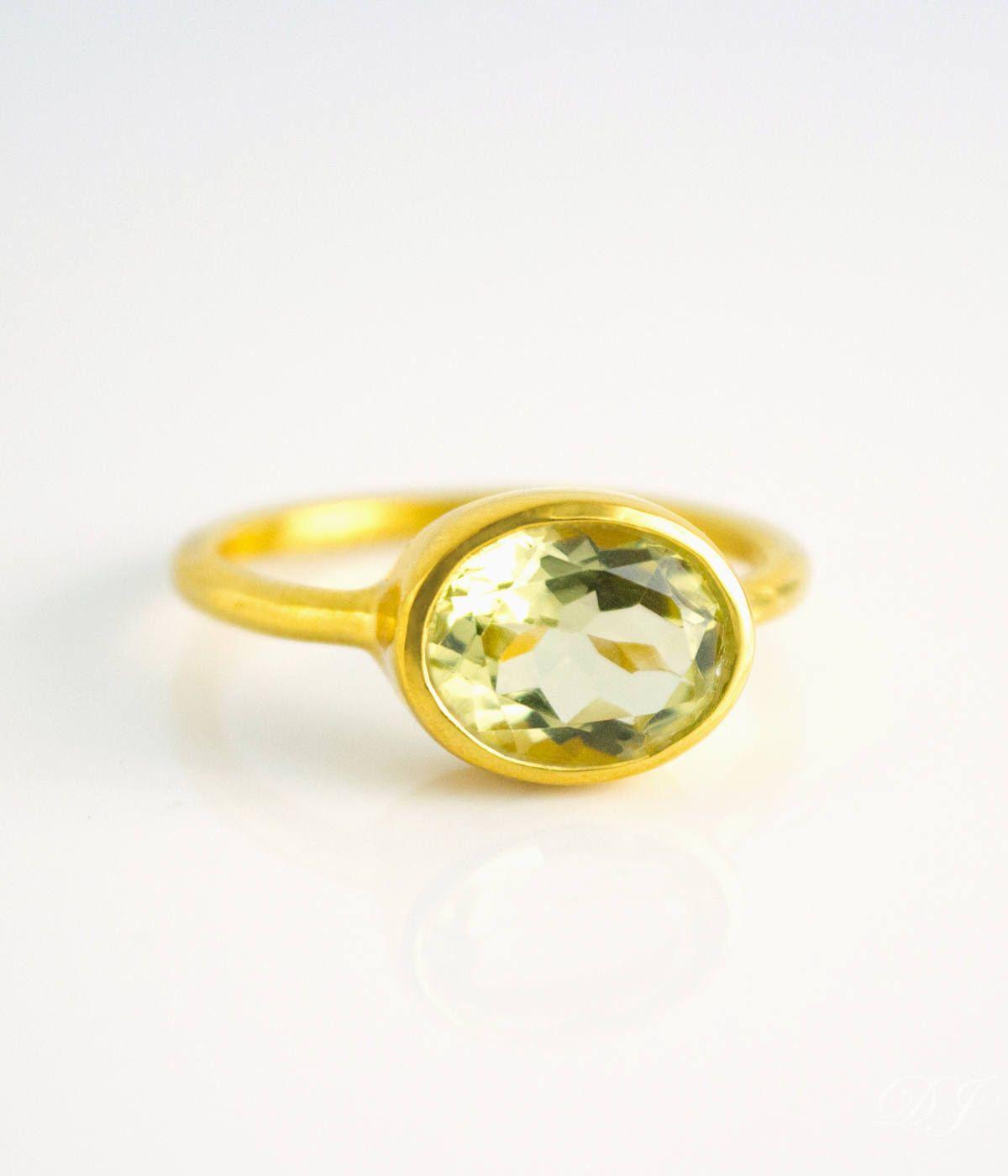 Lemon Quartz ring, oval ring, gemstone ring, lisa eldridge rings ...