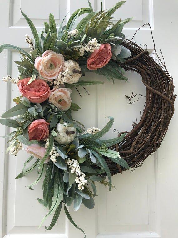 Photo of Cottage wreath, hydrangea wreath, red burlap wreath, winter wreath, peasant wreath, Valentine's Day