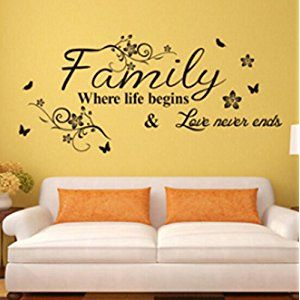 Family Where Life Begins Love Never Ends English Proverbs Wall Stickers Decor Living Room Wall Stickers Wall Stickers Family Wall Stickers Home Decor Family Wall Quotes