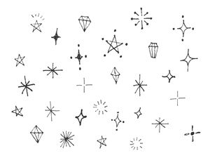 手書きのキラキラ素材のイラスト2種 Bullet Journal Ideas イラスト