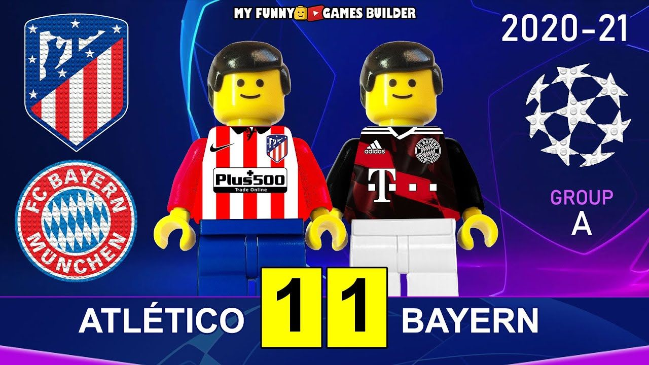 Atletico Madrid Vs Bayern 1 1 Champions League 20 21 In Lego All Goals Highlights Lego Football Madrid Vs Bayern Lego Football Bayern