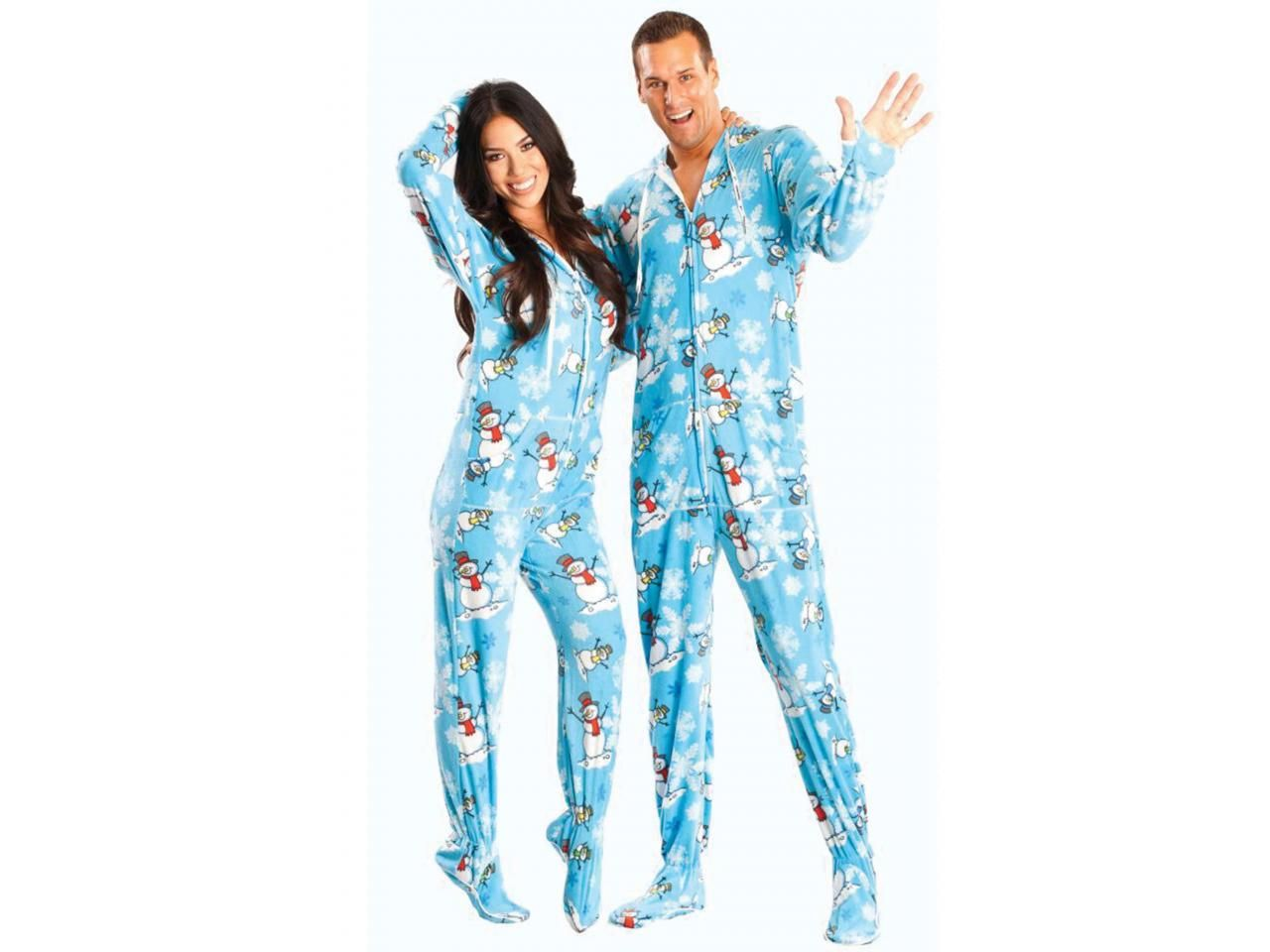 Blue Christmas Snowman Adult Footed Onesie Pajama | Winter ...