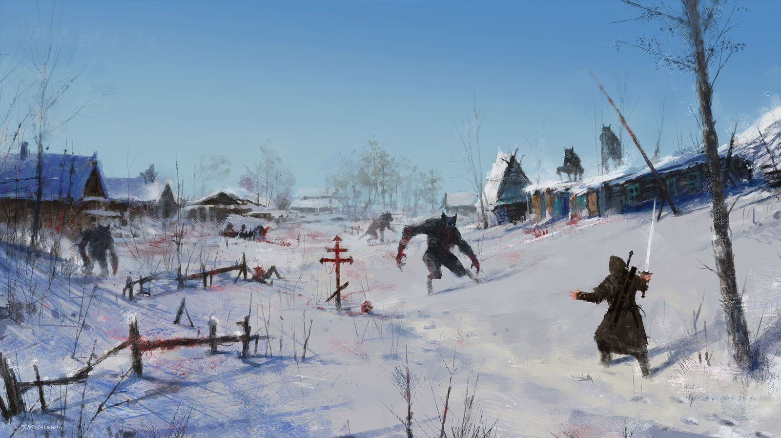 very severe winter..., Jakub Rozalski on ArtStation at https://www.artstation.com/artwork/very-severe-winter