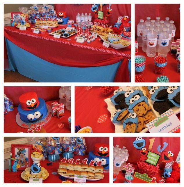 Elmo Cookie Monster Birthday Elmo Cookie Monster Catch My Party Cookie Monster Birthday Party Monster Birthday Parties Monster Birthday