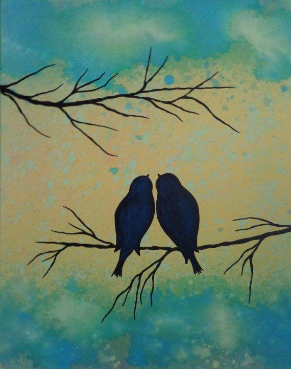 Original Paintings Contemporary Fine Art Modern Acrylics Abstract Floral Love Birds Cuadro Originales Cuadros Faciles De Pintar Pinturas