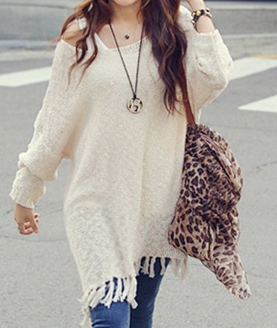 COWGIRL GYPSY SWEATER Dolman Long Sleeve Oversized FRINGE Western ...