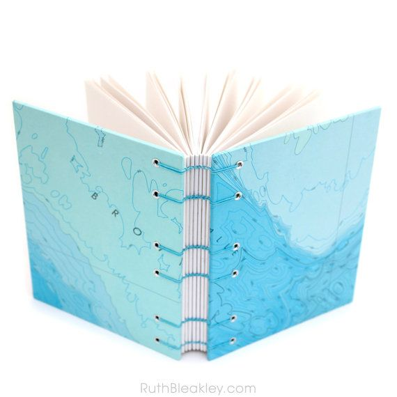 Blue Topographic Ocean Map Unlined Journal