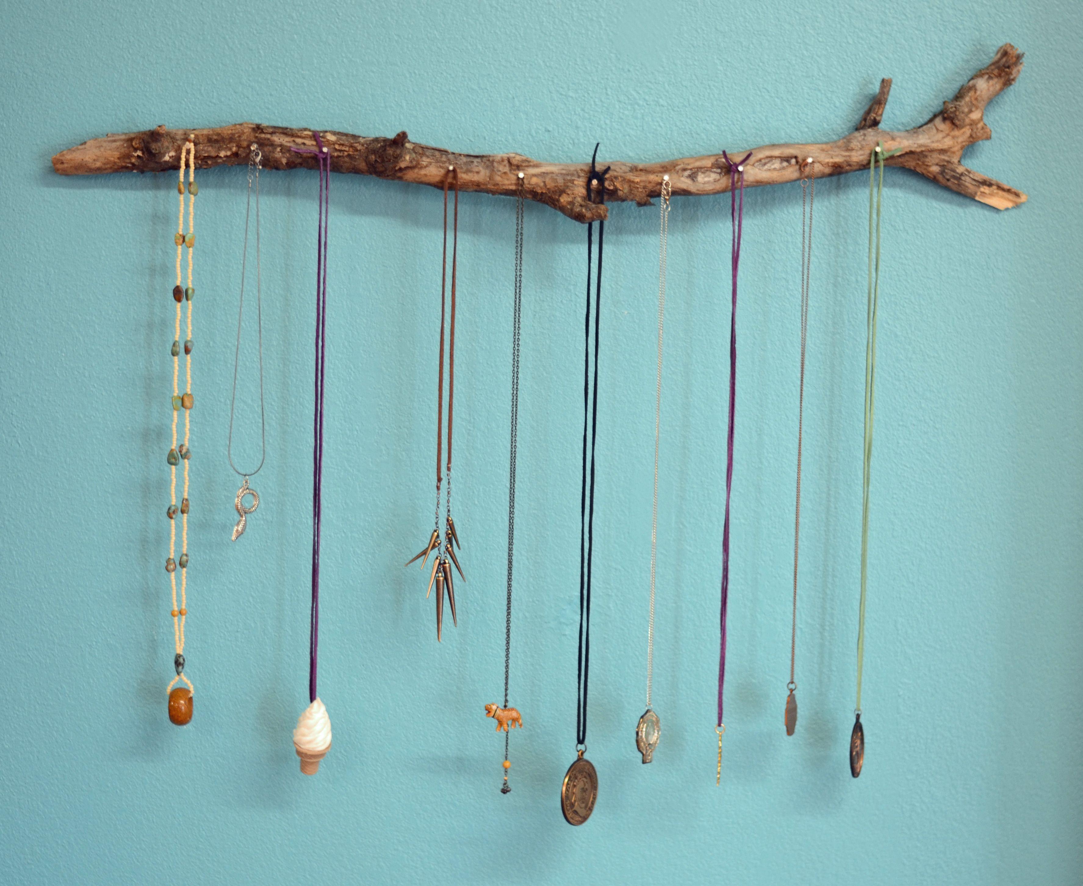 Diy Jewelry Holder Branch Necklace Holder Tutorial Aida Pinterest Branch
