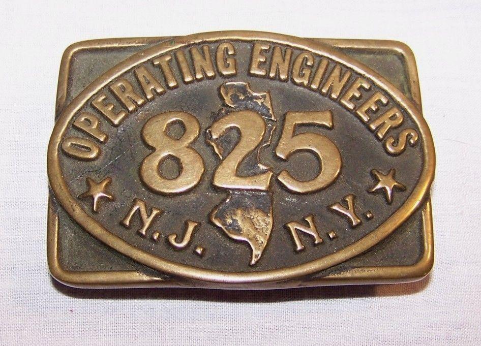 Vintage BRASS BELT BUCKLE Operating Engineers 825 NY NJ 1978 Anacortes Ltd UNION #AnacortesBrassWorksLtd