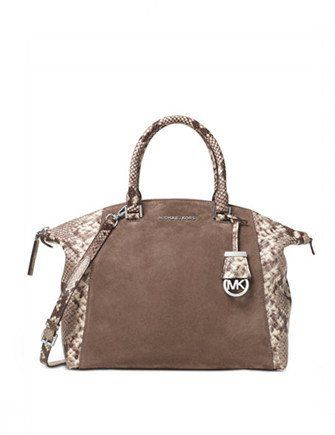 c7650314e490 Michael Michael Kors Riley Large Suede and Python Embossed Satchel Leather  Satchel