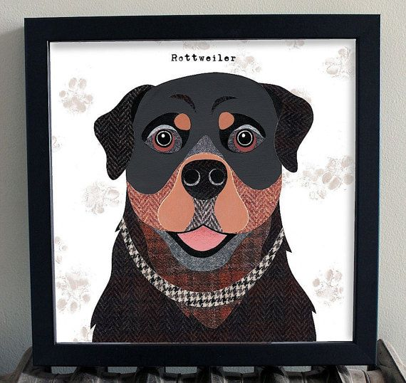 This unique Rottweiler print fits well in any interior and will bring a smile to your face and brighten up your home!. These Dog artworks are taken from the Pawtraits range of illustrations by artist Simon Hart created in collage using tweed fabrics and vintage papers. They look particularly good framed in a simple black modern style moulding and make the perfect gift for any dog lover!  Each print is signed by the artist. The unframed print comes with a backing board and a protective cello…