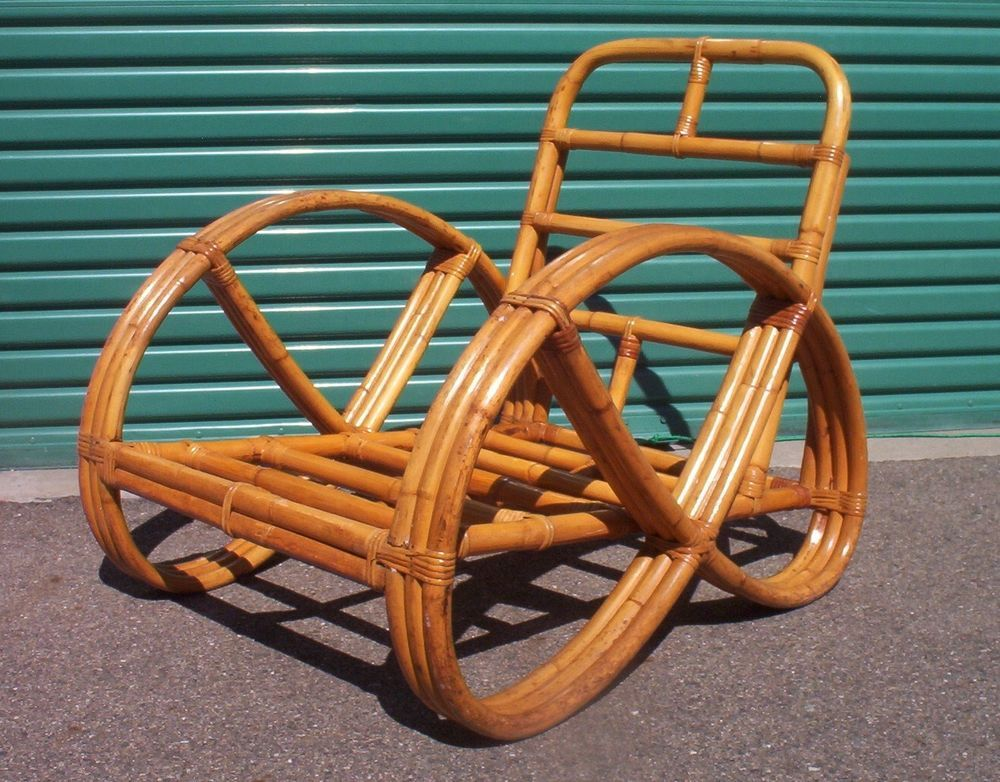 1950 S Vintage Bamboo Rattan Tiki Pretzel Chair Art Deco Paul Frankl Style Beach Style Furniture Art Chair Bamboo Outdoor