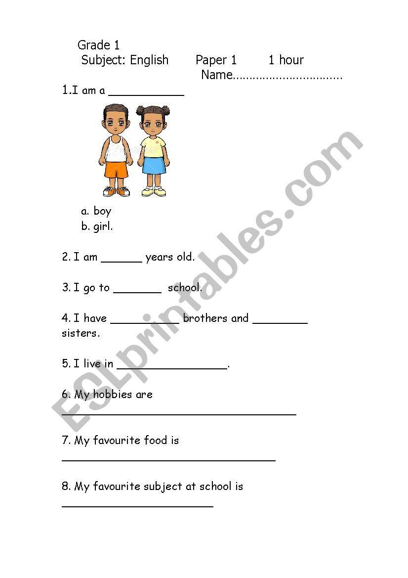 medium resolution of Grade 1 English Exam 2012 - ESL worksheet by tayto   English exam