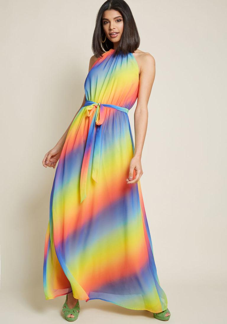 Illuminate Elegance Chiffon Maxi Dress In Rainbow Maxi Dress Vibrant Dress Chiffon Maxi Dress [ 1097 x 768 Pixel ]