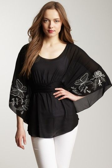 Embroidered Peasant Top by Rain on @HauteLook