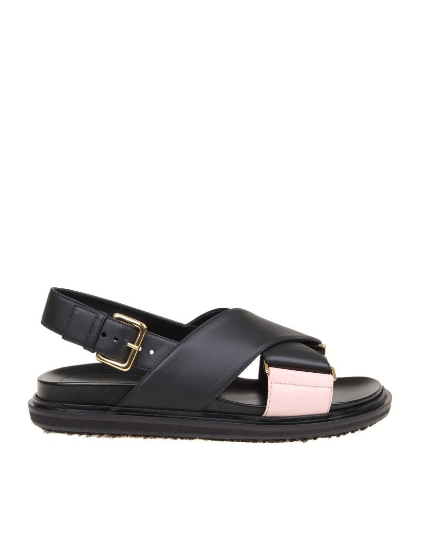 Marni Marni Fussbett Sandal In Leather Color Black Marni Shoes Leather Sandals Marni Shoes Black Leather Sandals
