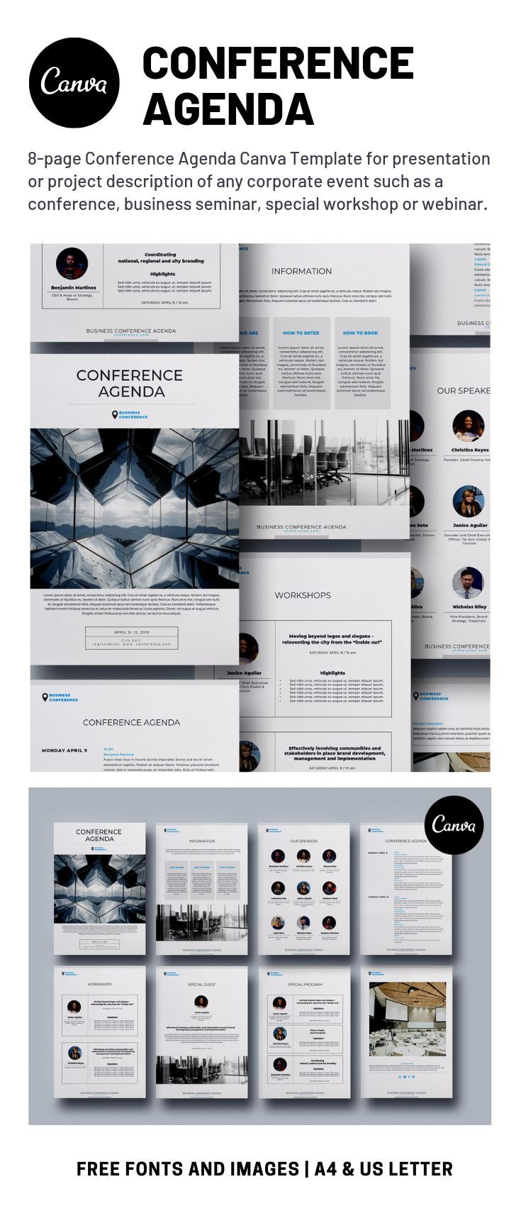 Conference Agenda Canva Template Running a conference or workshop 8 page Conference Agenda Canva Template will help you to design a great presentationguide for any corpor...