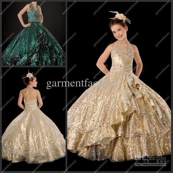 Ball Gown Kids 2012 Hot Sales Halter Gold Sequined Fabric Full ...