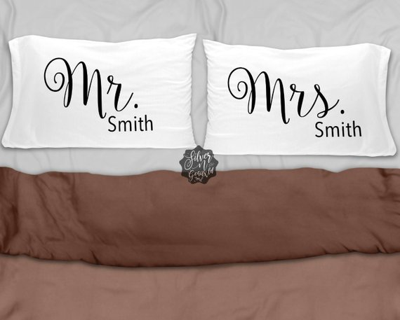 Personalized Pillow Case, Mr  and Mrs  Pillow Case, Pillowcase, Mr