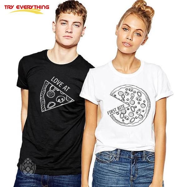d3673b19ea Try Everything Pizza Couple T Shirts For Lovers Casual Matching Couple  Clothes Summer Men And Women Valentine's Tops Tees