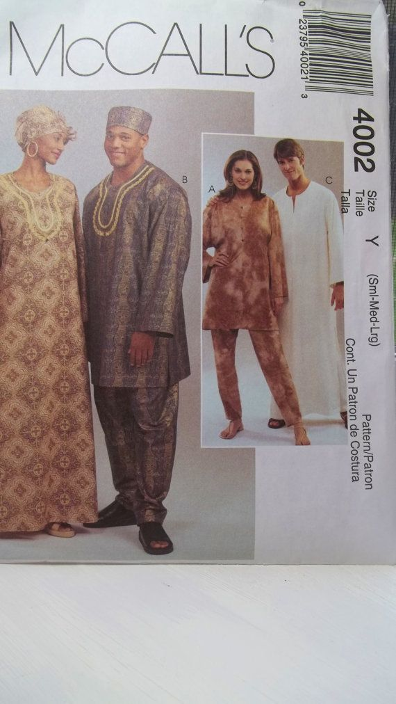 African Inspired Caftan Unisex, McCall\'s 4002 Sewing Pattern, Long ...