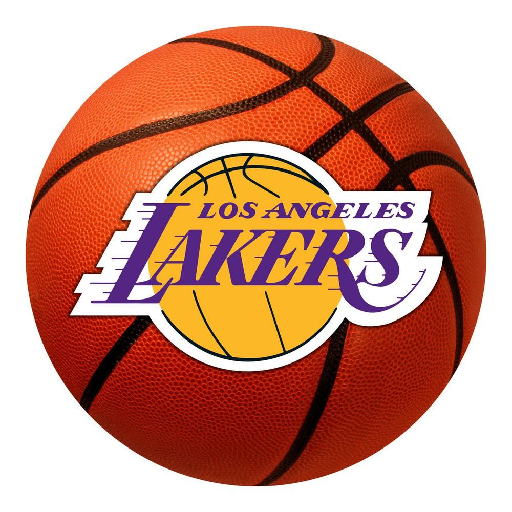 Fanmats Nba Los Angeles Lakers Photorealistic 27 In Round Basketball Mat 10209 The Home Depot In 2020 Los Angeles Lakers Basketball Lakers Basketball Los Angeles Lakers