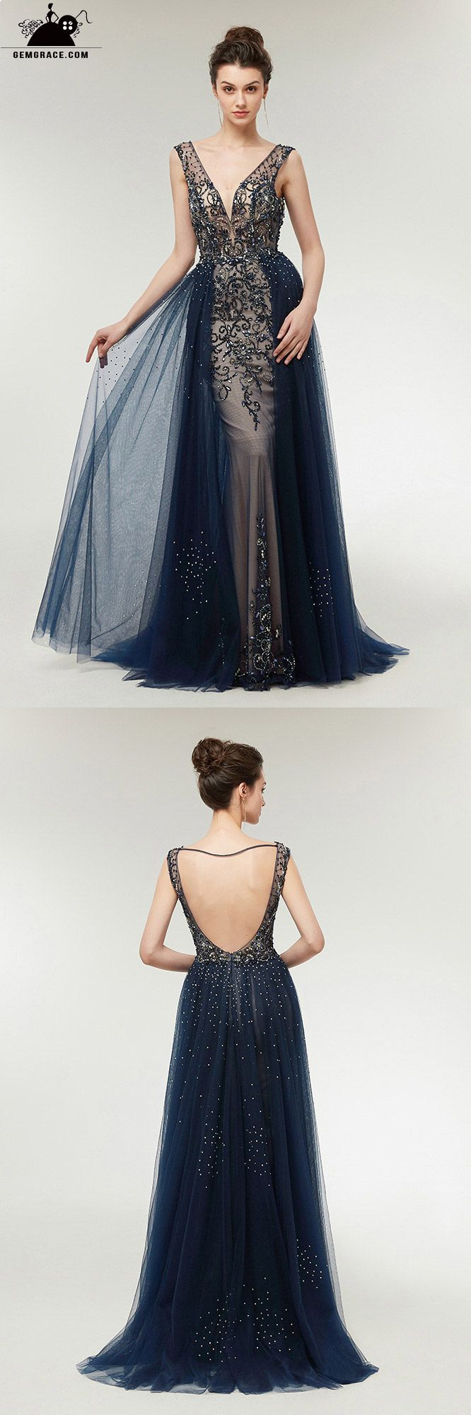 Sexy dark blue sparkly long tulle prom dress with open back c