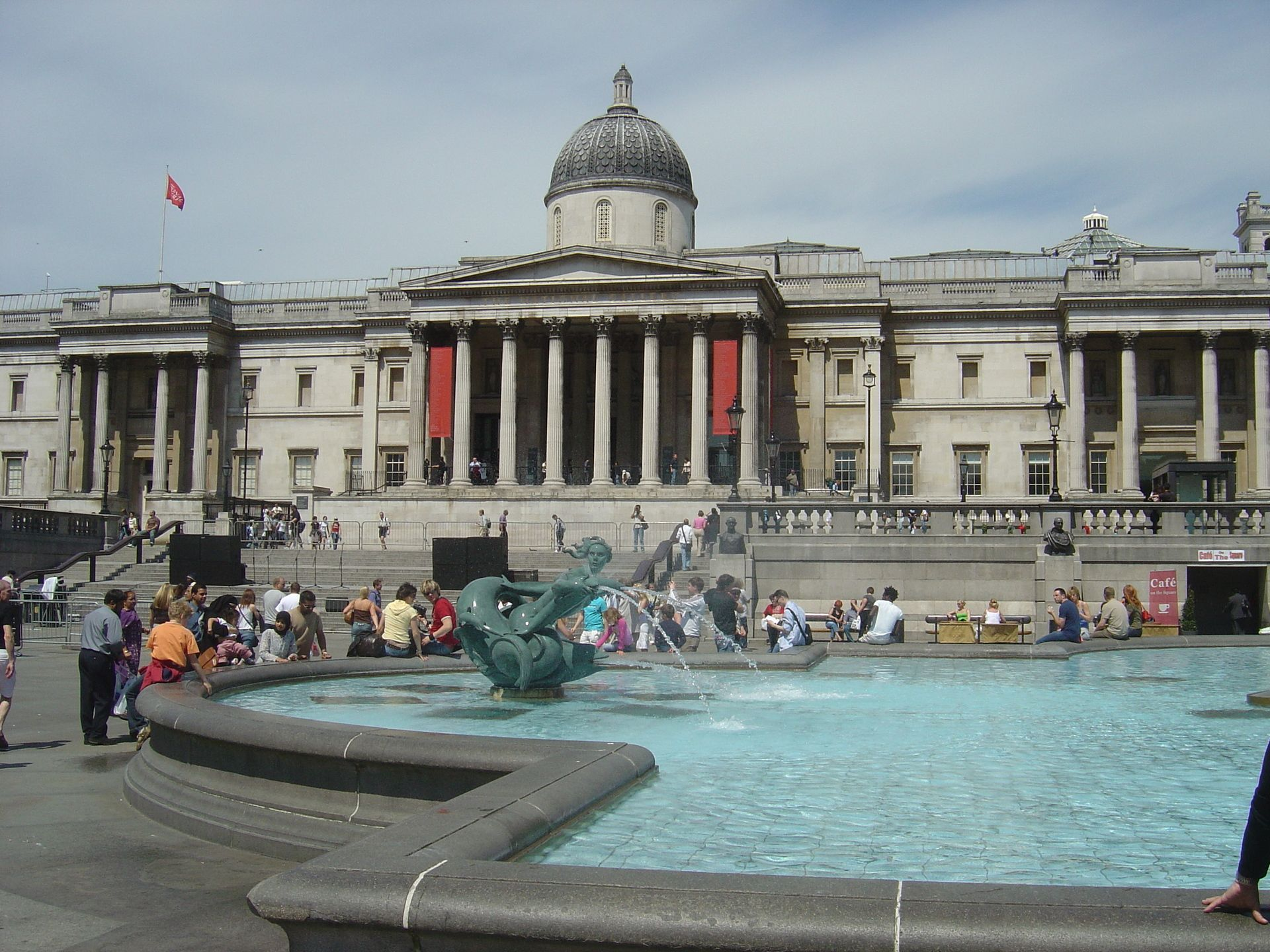 Trafalgar Square in London; the building at the back is the National Gallery Museum.