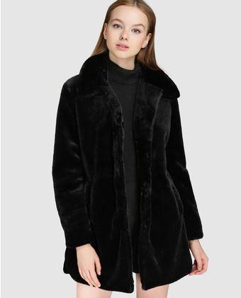 Abrigo de mujer Easy Wear de pelo en color negro  fb22dff51b40