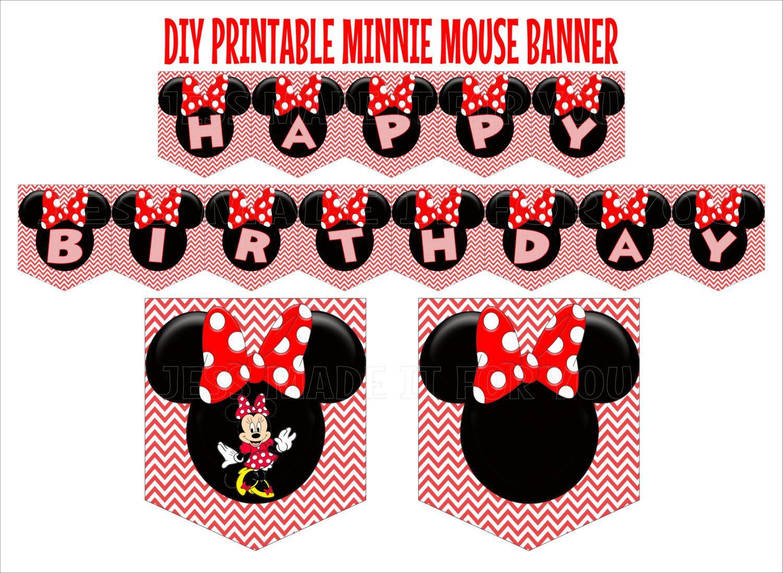 Minnie Mouse Red Birthday Banner Printable Diy Pdf Jpg By