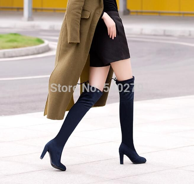 501553fa6cbe Hot Selling Women Boots Autumn Winter Shoes Over The Knee Boots Stretch Slim  Lace up Fashion Boots High Heels Suede Long Boots