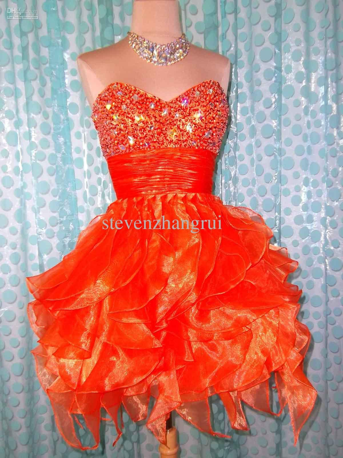 New style orange short mini homecoming dresses strapless beaded