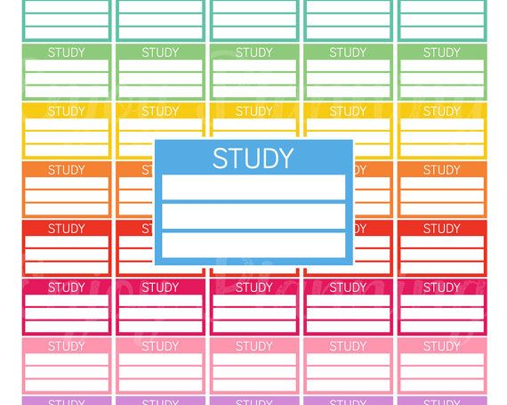 Printable Study Stickers Study Schedule Printable Planner Stickers