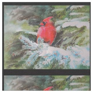 Red Cardinal on Snow Covered Bough Fabric