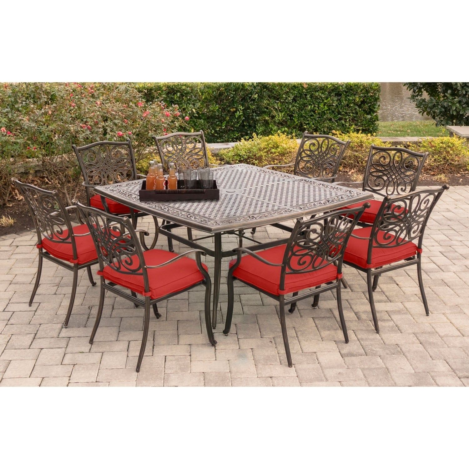 Hanover Traditions 9 Piece Square Dining Set In Red Aluminum Patio Dining Set Buy Outdoor Furniture Outdoor Dining Set
