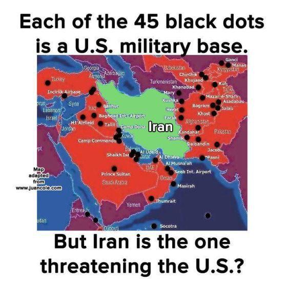 US Bases Surrounding Iran Chemtrails HAARP Illumati