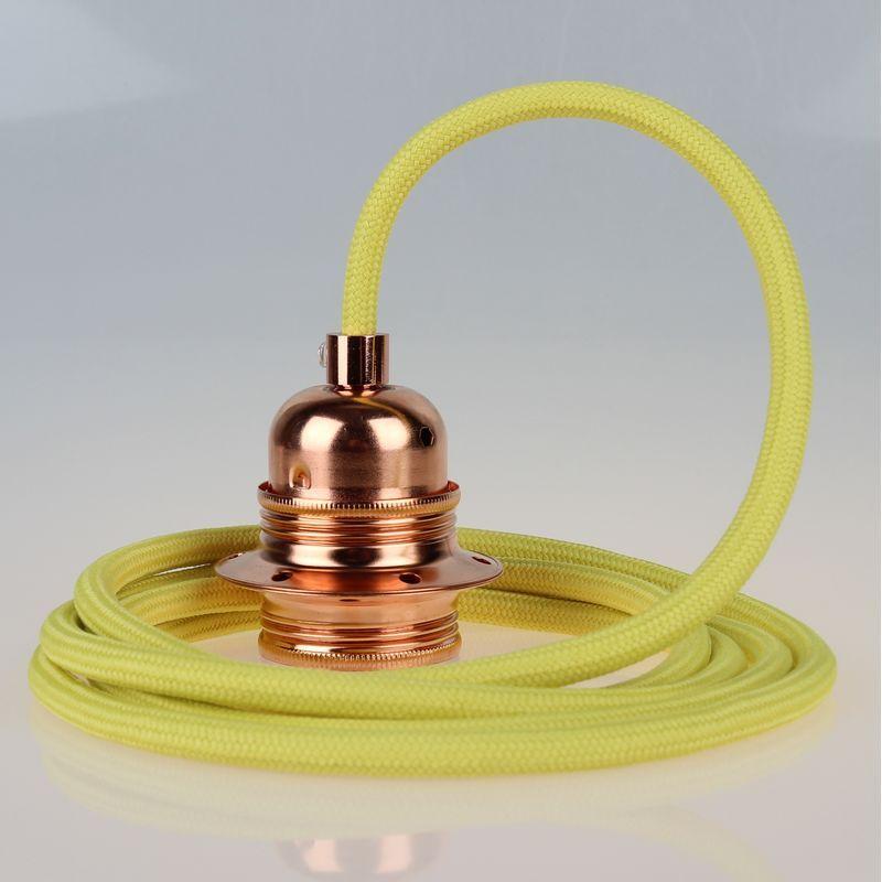 Textilkabel Gelb Mit E27 Fassung Metall Kupfer Kaufen 26 27 Textilkabel Ast Lampe Kabel