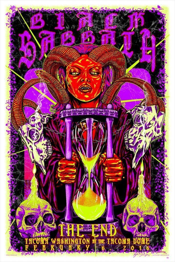 BLACK SABBATH - THE END - TACOMA DOME - WASHINGTON - KYLER SHARP - 2016 - Rock Candy Posters