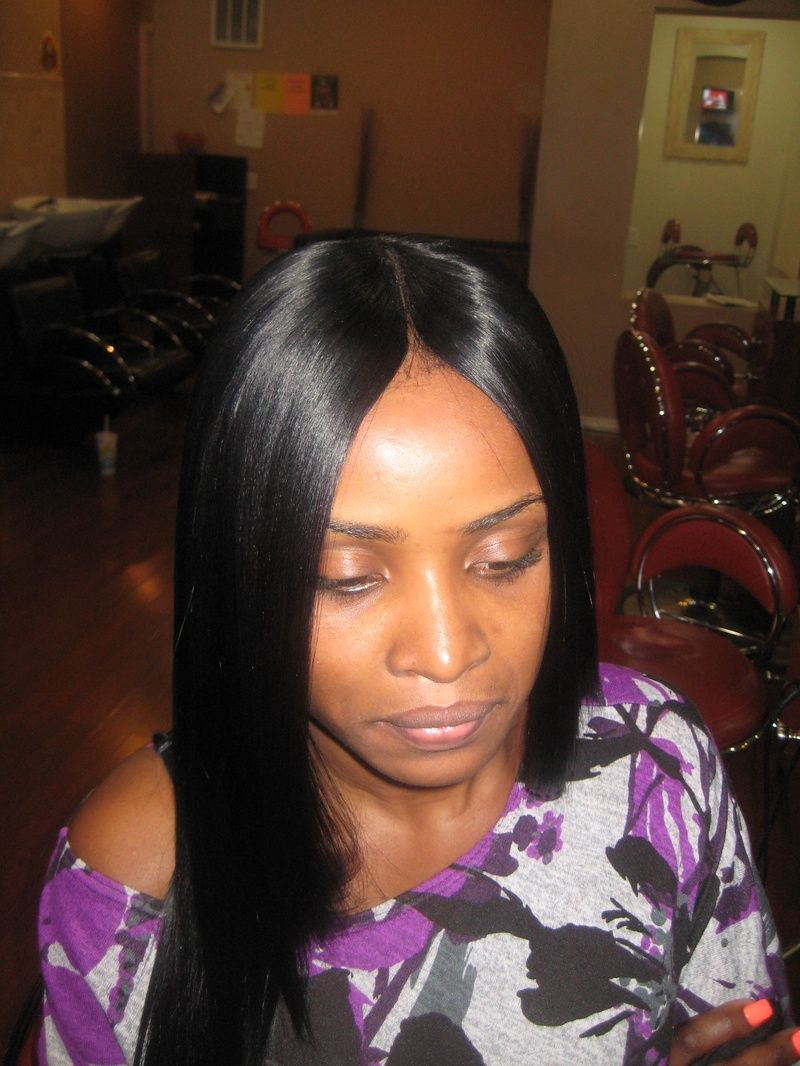 sew in hairstyles for black women | invisible part weave