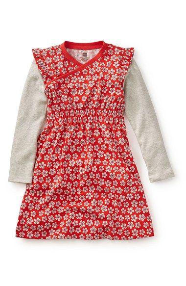 Tea Collection 'Sora' Flower Print Knit Dress (Toddler Girls, Little Girls & Big Girls)