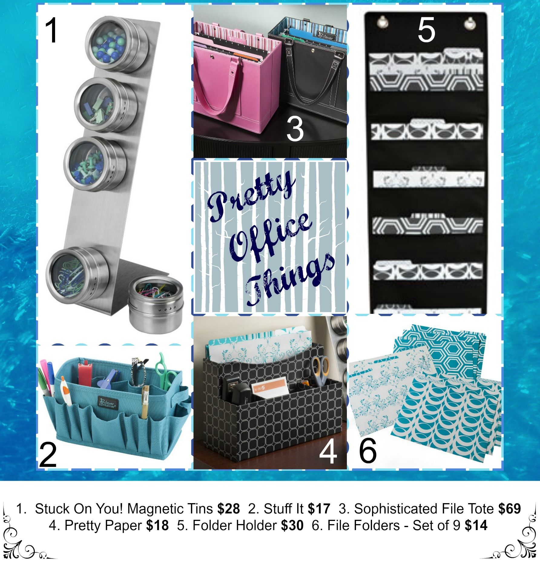 Why not decorate your office and home with pretty supplies.  My #1 pick on this pic is the black hanging file holder!
