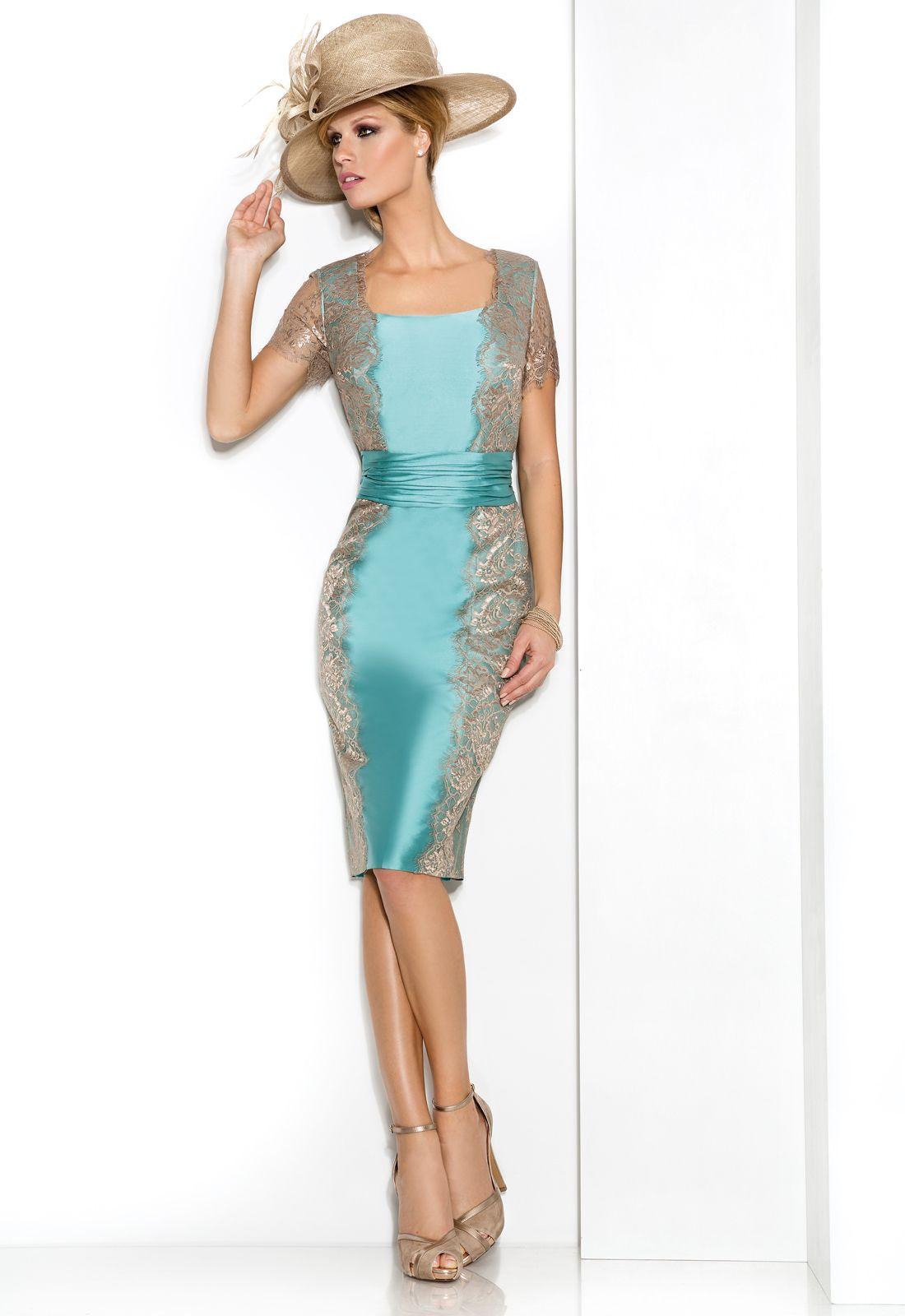 6242 conjunto vestido de madrina corto en mikado y encaje - Color rosa empolvado ...