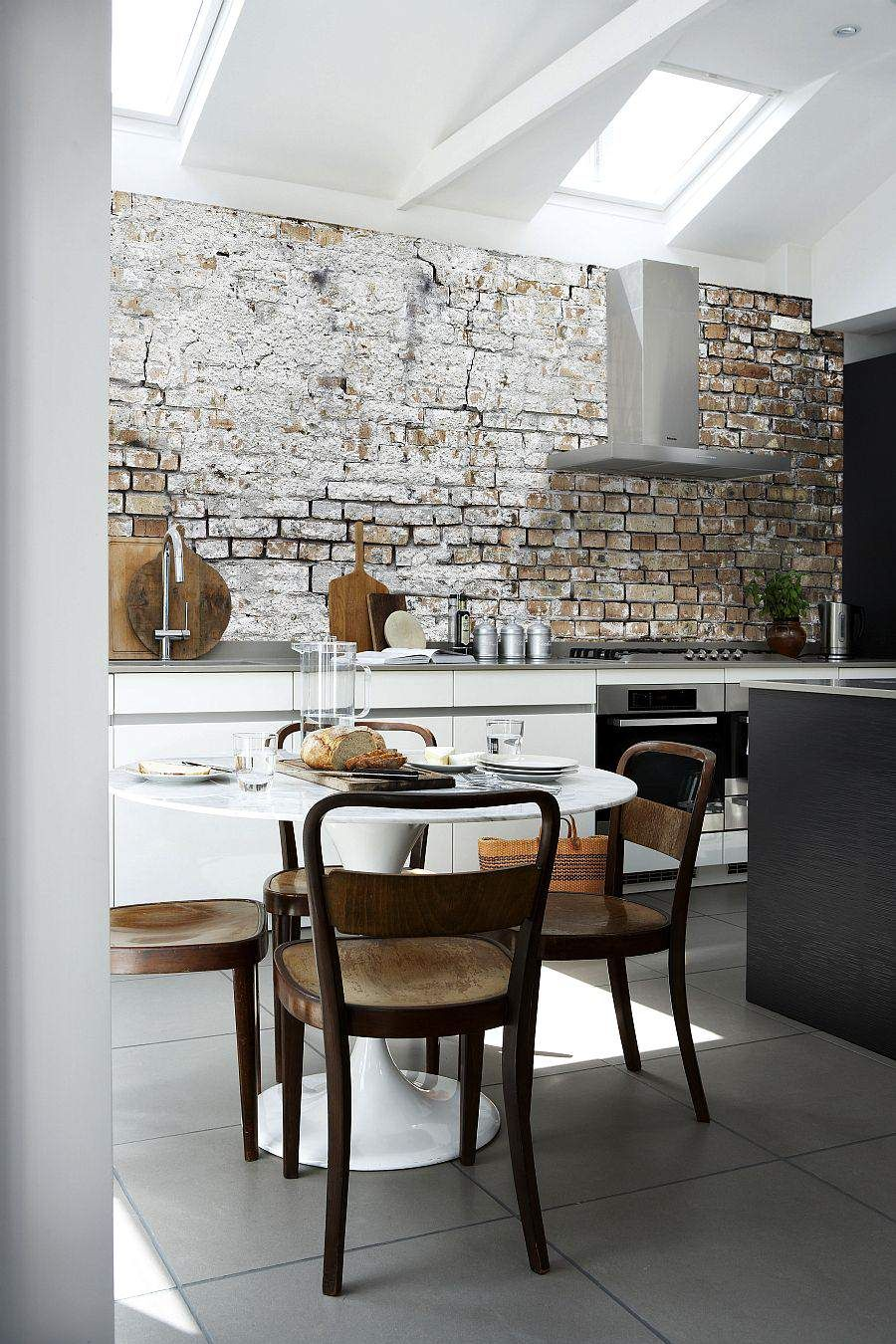 Modern kitchen room design with rustic brick stone wall murral also
