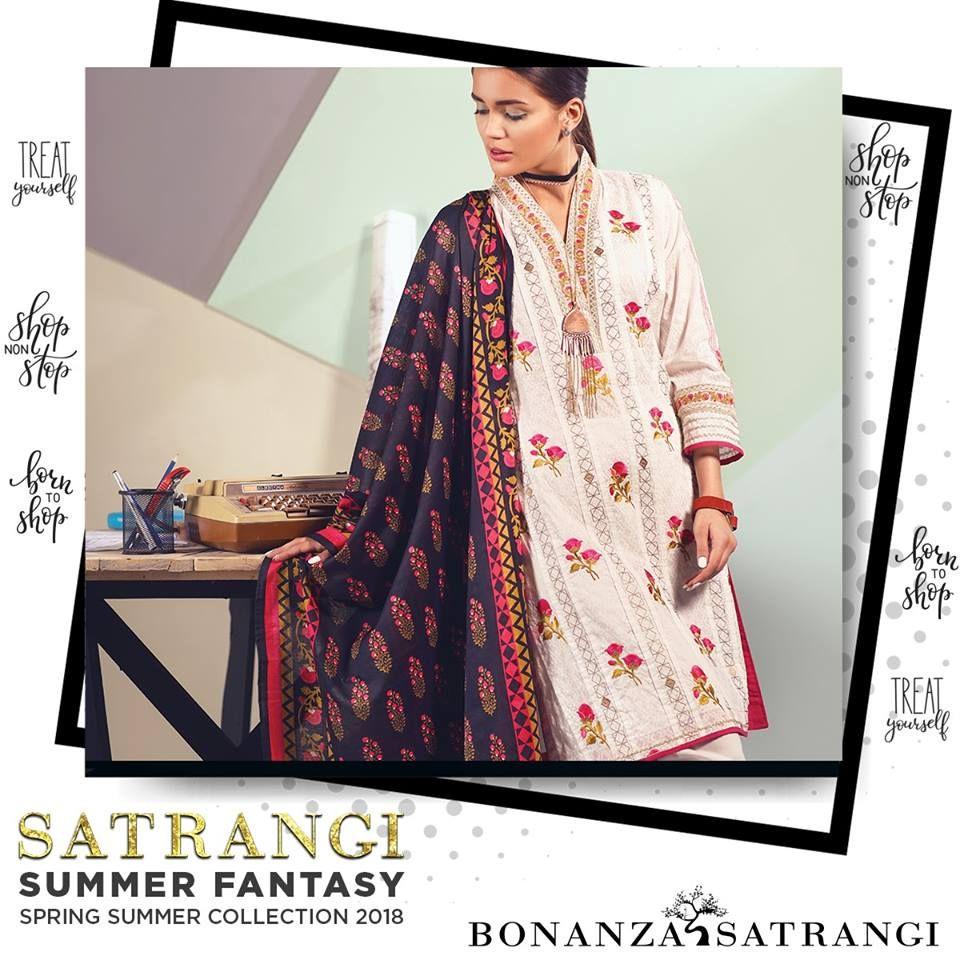 Satrangi Summer Fantasy Spring Lawn 2018 by Bonanza ...