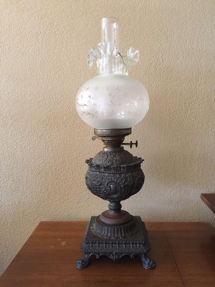 Antique john scott copper oil lamp wruffled glass shade chimney antique john scott copper oil lamp wruffled glass shade chimney aloadofball Gallery