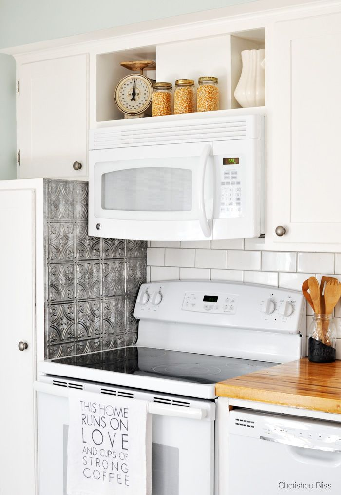 cherished bliss eclectic cottage fall home tour - Above Stove Microwave