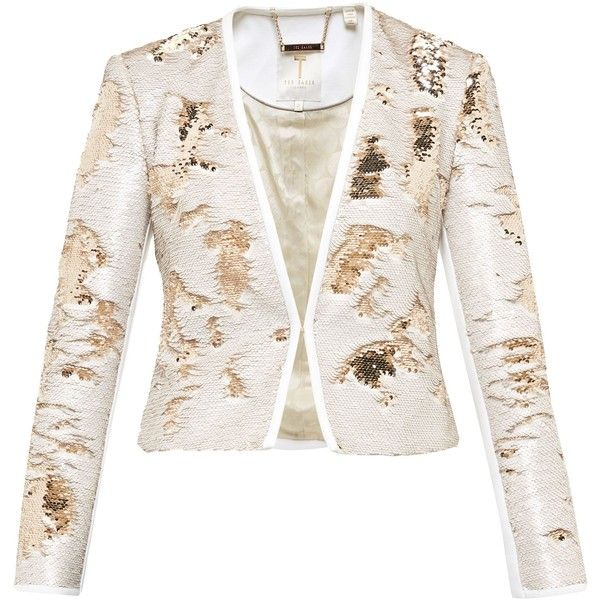 Ted Baker Zalee Metallic Sequin Jacket ($350) ❤ liked on Polyvore featuring outerwear, jackets, gold, women, white sequin jacket, ted baker jacket, ted baker, sequined jackets and metallic jacket
