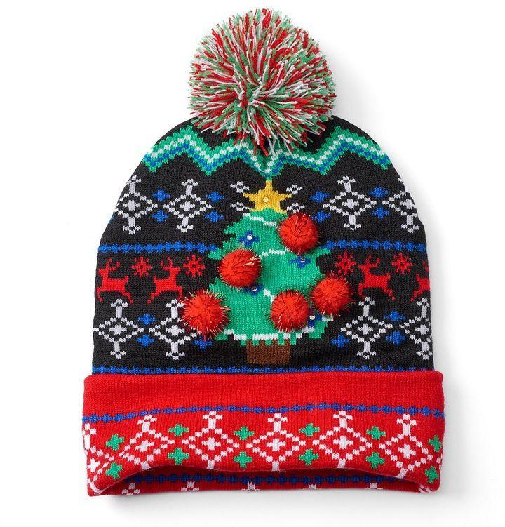 ba95aac9a3b Men s Ugly Christmas Sweater LED Light-Up Beanie